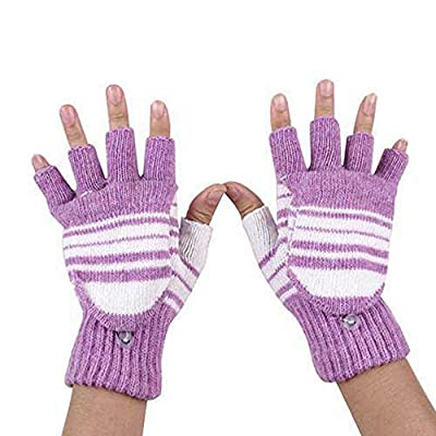 5V USB Powered Heating Winter Gloves,Voberry Women Knitting Wool Hand Warm Gloves Heated Warmer Knitted Mitten Washable