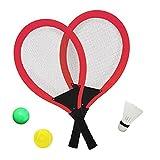 YIMORE Raquetas de Tenis Bádminton con Bolas Juguete para Niños - 3 en 1 Juego de Deporte Playa al Aire Libre (Rojo)