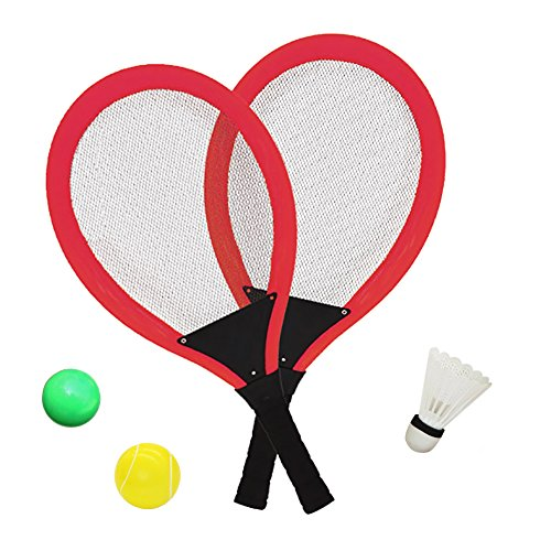 YIMORE Badminton Tennis Rackets Set with Ball for Kids - 3 in 1 Beach Garden Outdoor Sport Play Game Toy for Boys Girls (Red)