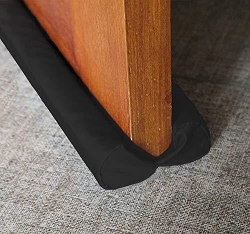 MAXTID Under Door Draft Blocker Black 32-38' Front Air Draft Stopper Reduce Noise Window Breeze Blocker Adjustable Door Sweeps
