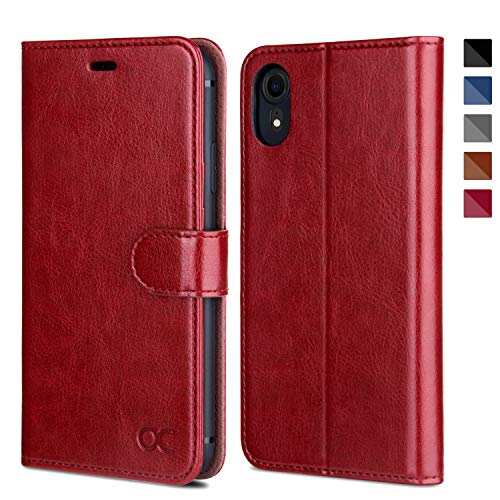 OCASE iPhone XR Wallet Case [ Wireless Charging ] [TPU Shockproof Protective Case] [Card Slot] [Kickstand] Leather Wallet Flip Case for iPhone XR Devices 6.1 Inch - Red