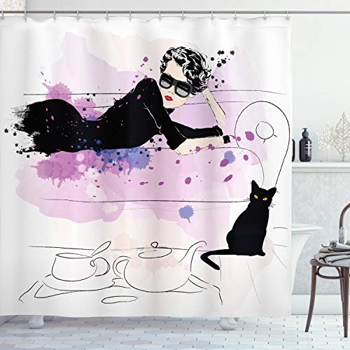 Ambesonne Kitten Shower Curtain, Girl with Sunglasses Lying on Couch Cat in Home Theme with Stains Animals, Cloth Fabric Bathroom Decor Set with Hooks, 70' Long, Black