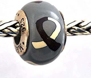 Head and Neck Cancer Awareness Bead Charm Burgundy and White Ivory Ribbon MADE IN USA Authentic by MAYselect Beads/Charm .925 Sterling Silver