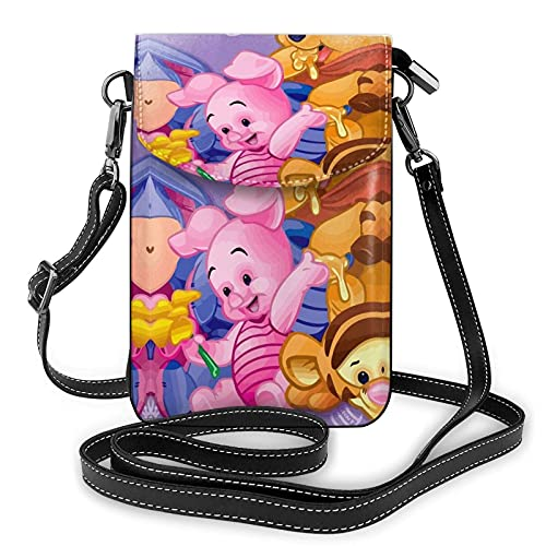 XCNGG Women's Small Crossbody Bag with Shoulder Strap,Winnie The Pooh Loves Honey Small Cell Phone Purse Wallet with Credit Card Slots