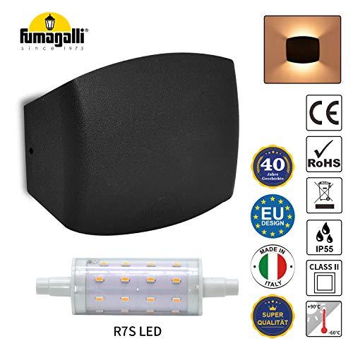 Innen Außen LED Wandlampe IP55 Gipsleuchte Wandleuchte Up Down Wandlicht Spotlicht 230V Schwarz für Wänden, Bad, Flur, Hof, Eingängen inkl. 4W R7S Licht Warmweiß