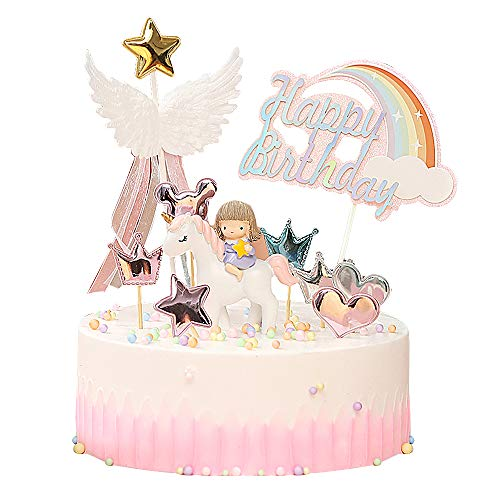 Yisika Decorazione Torta Unicorno,Decorazione Della Torta di Compleanno,Set di Decorazioni per Torta Rosa Carino Includono Unicorno Ali Dangelo Arcobaleno per Ragazze Compleanno
