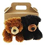 Plush Stuffed Animal Bundle with Carrier Box (Grizzly Bear & Black Bear)