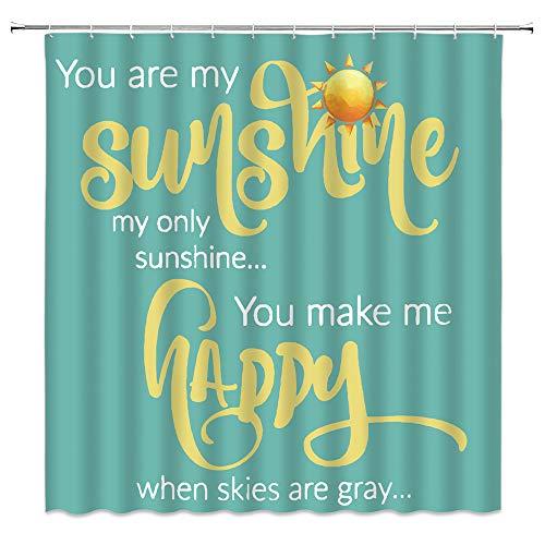 """Duschvorhang mit lustigem Zitat """"You are my shine"""" & """"Creative Romance Word"""" im Vintage-Stil, rustikaler Stil, mit 12 Haken, 180 x 180 cm, blaugrün"""