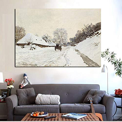 SADHAF HD-druk Monet olieverfschilderij sneeuwscène op canvas kunst wandposter woonkamer sofa afbeelding decoratie 70X100cm (kein Rahmen) A6.