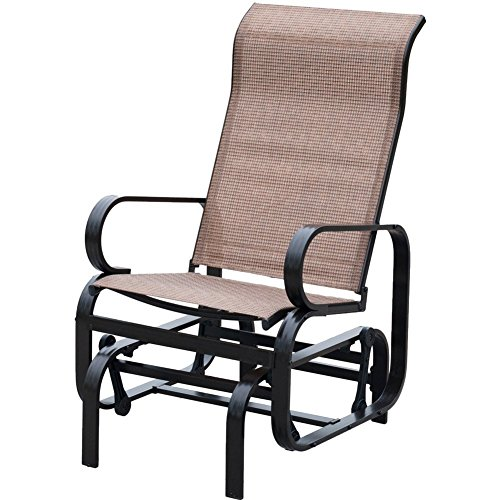 PatioPost Sling Glider Outdoor Patio Chair Textilene Mesh Fabric, Black