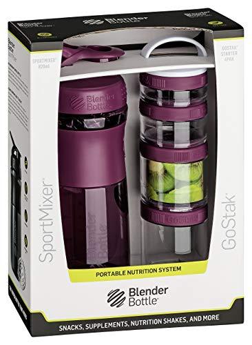 BlenderBottle Combo Pak - Sportmixer Shaker 820 ml Fassungsvermögen und GoStak Starter 4Pak mit Henkel in einer attraktiver Geschenkverpackung, plum