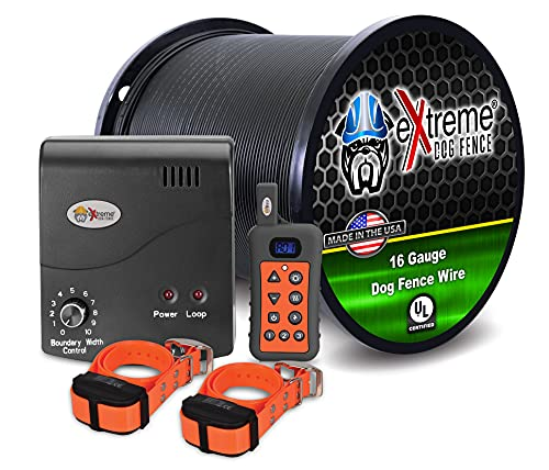 Electric Dog Fence + Remote Trainer - 2 Dog / 1000' of 16 Gauge Underground Dog Fence Wire (Up to 1 Acre) - Dual Solution to Contain and Train Your Dog(s) with a Single Collar