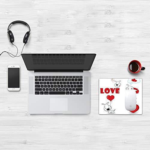 Tappetino per Mouse Gaming (320x250 mm),Love, Funny Dogs with Heart Symbols My Pet Best Friends Companions Ever Animal Theme, Grigio antr,Impermeabile, Gomma Antiscivolo, Adatto per Gaming e Ufficio