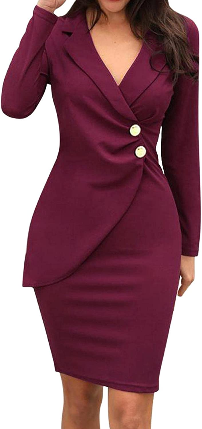 Women Summer Long Sleeve V-Neck Wrap Button Dresses Bodycon Formal Work Business Cocktail Solid Color Casual Dress