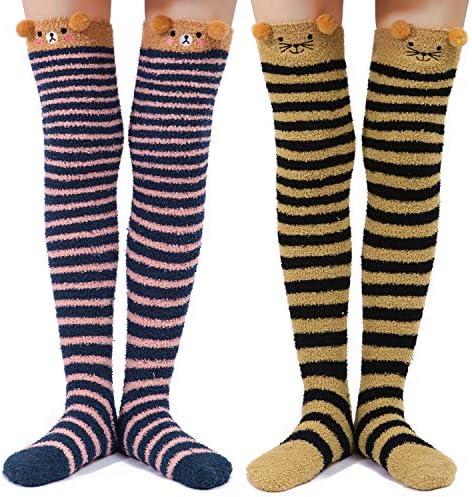 Littleforbig Cute Animal Coral Fleece Thigh High Long Striped Socks 2 Pairs Black Darkblue product image
