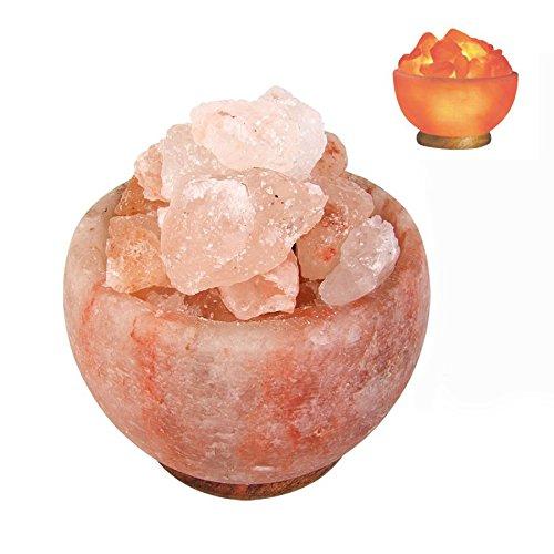 BURI Salzkristalllampe beleuchtet Salzkristallschale Salzkristalle Salzlampe Deko