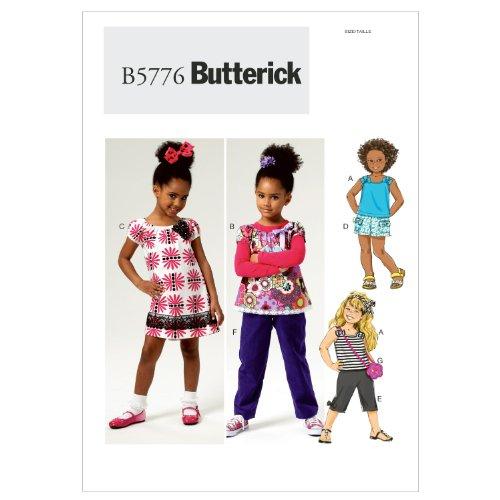 Butterick Patterns b5776 Taille CL 6–7-8 Enfant/Fille Haut, Robe, Shorts, Pantalons et Sac, Lot de 1, Blanc