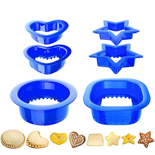 Yumkt Sandwich Cutters Set of 2 Square Heart Star Sandwich Cutters and Sealer for Kids Boys Girs (Set-1)