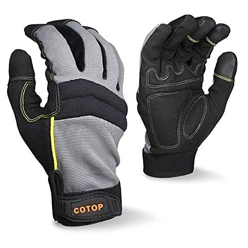 COTOP Guantes de trabajo para hombre, guantes multiusos resistentes al desgaste para pantallas táctiles para herramienta mecánicas, jardinería,construcción,reparación,protección resistente(XL)