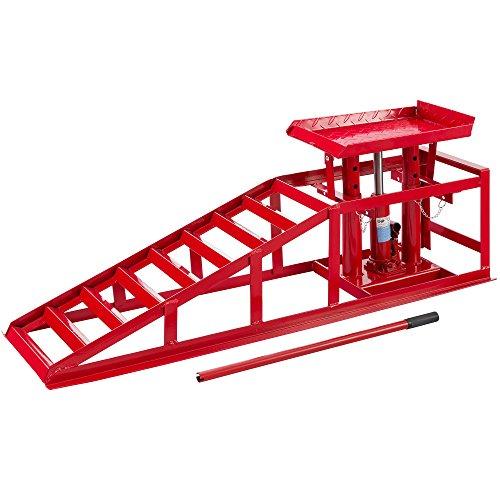 AREBOS Voitures Véhicule Rampe de Levage | Hydraulique | Réglable 2 T | rampe d'accès de 270-375 mm | Rouge