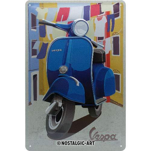 Nostalgic-Art Retro Blechschild Vespa – Italian Laundry – Geschenk-Idee für Roller Fans, aus Metall, Vintage-Design zur Dekoration, 20 x 30 cm