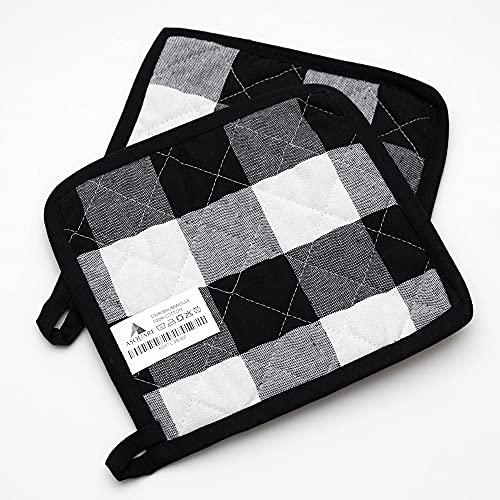 Asquare Topflappen Set - 2X Praktische Topflappen Karo - Ökologische Topf Lappen aus 100% Baumwolle - Kitchen Pot Holders - Kochlappen in Schwarz Weiß 20x20cm