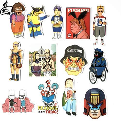 13 Leuke Cartoon Sticker Accessoires Motorfiets Fiets Reistas Laptop Waterdicht