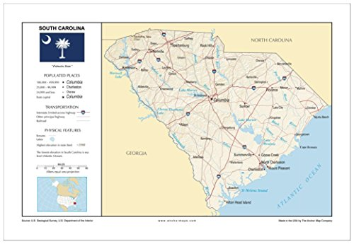 13x19 South Carolina General Reference Wall Map - Anchor Maps USA Foundational Series - Cities, Roads, Physical Features, and Topography [Rolled]