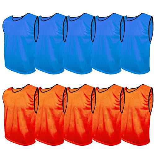 SPORTSBIBS Juego de 10 camisetas de fútbol, 2 colores, 5 de cada color, para niños y adultos, sin logotipo, juego de equipo, Bibs para hombres, mujeres, ancianos y jóvenes