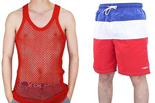 True Gezicht Mannen Fishnet Casual String Vest en Zwembroek Set