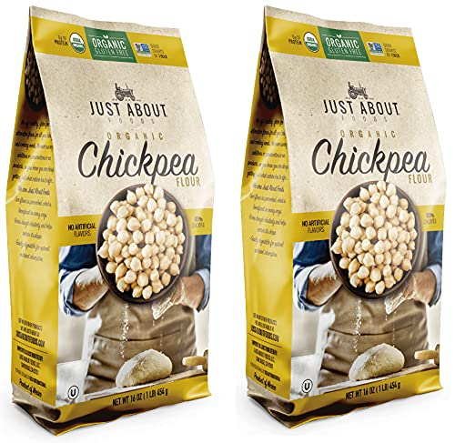 Just About Foods Organic Chickpea Flour 1 Pound Gluten Free Egg Substitute Good Source of Protein, Fiber and Iron Pack of 2