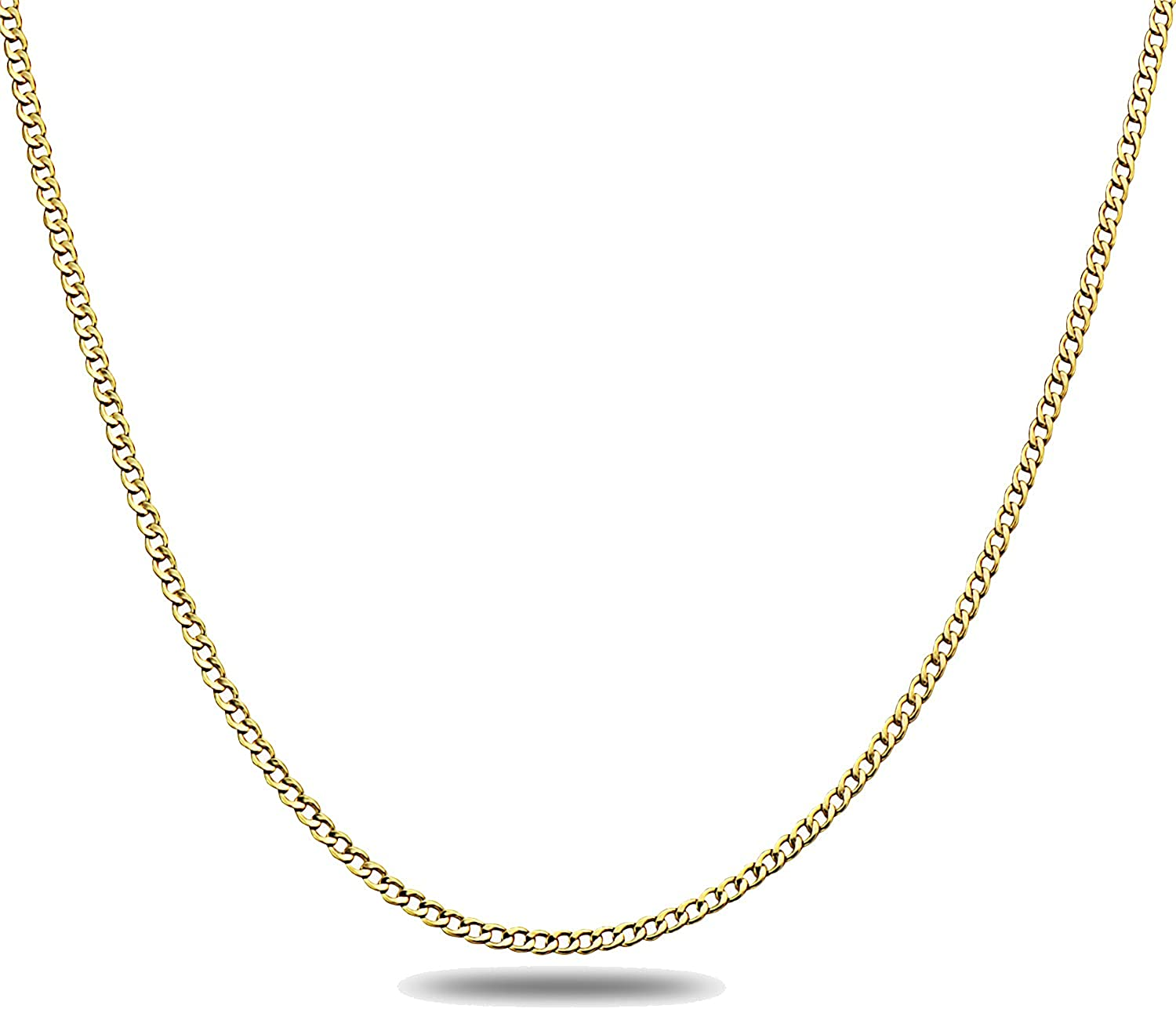 14K Gold 2.0mm Cuban/Curb Link Chain Necklace- 16-30- Yellow, White, Two Tone Or Rose Gold