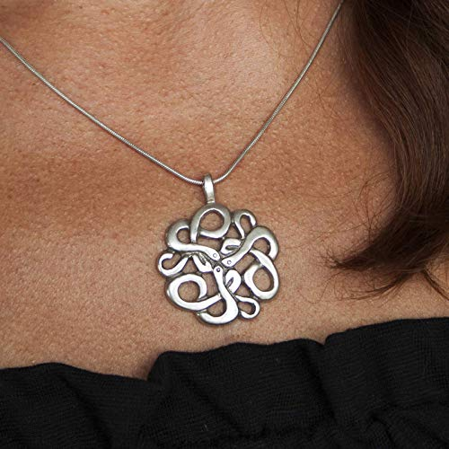 925 Sterling Silver Irish Trinity Celtic Knot Snake Pendant Necklace Endless Serpent Knot of Snakes Esoteric Symbol Alchemy Gothic Vintage Witchcraft Jewelry for Women Men Handmade