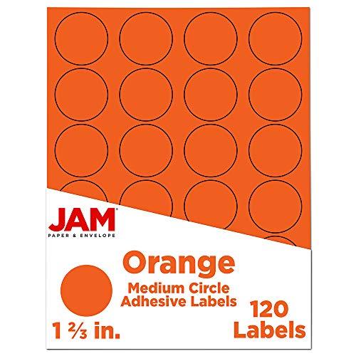 JAM PAPER Sello de etiqueta circular – 1 2/3 pulgadas de diámetro – naranja – 120 etiquetas redondas por paquete