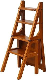 LAXF- Sillas Escalera Plegable Madera Silla Plegable de Madera de Las escaleras Silla casera de múltiples Funciones del Paso de los Muebles 4 Pasos