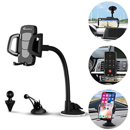 """3-in-1 Universal KFZ Handyhalterung, Vansky Auto Handy Halter   Lüftungshalter, Armaturenbrett-Halterung und Windschutzscheibenhalterung für Smartphone oder GPS-Gerät mit 3.5""""-7"""""""
