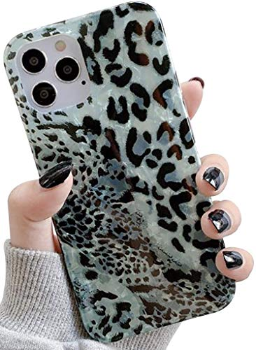 """YYXIANG iPhone 11 Pro Case Leopard,Luxury Fashion Shell Pattern Slim Soft Flexible Cute Cheetah Protective Cover for Girls Women Compatible iPhone 11 Pro 5.8"""" (Green)"""