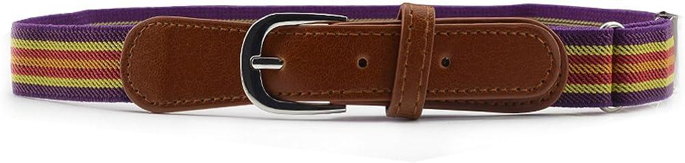 Striped Kids Elastic Adjustable Strech Belt with Leather Closure