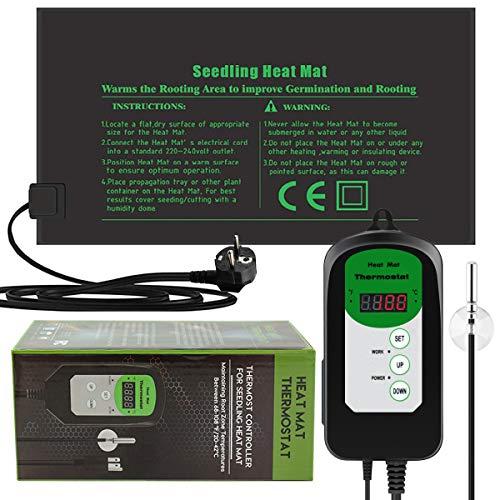 RIOGOO 24 * 52 cm - Alfombrilla térmica para plántulas y Controlador de termostato 68-108 ° F Controlador de termostato Digital IP68 a Prueba de Agua (Alfombrilla térmica + Controlador de termostato)