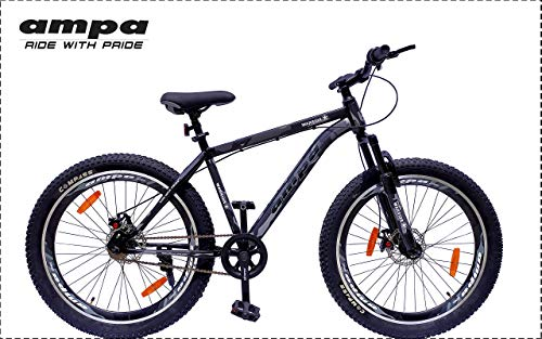 Ampa Cycle for Adults with Front Shocker and Dual Disc Brakes Semi Fat Bike for Men & Women with Triple Alloy Rims (Matte Black/Camouflage/Army Graphics) (Warrior 26)
