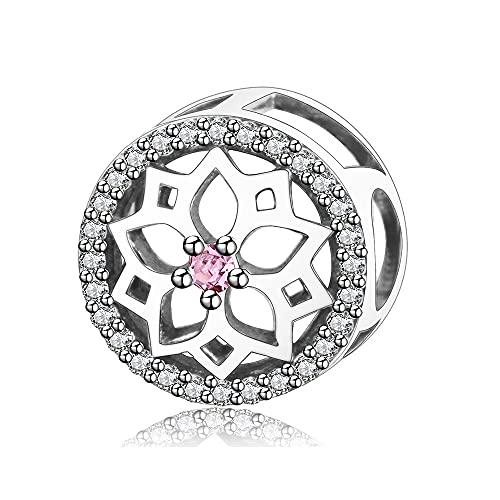 LIIHVYI Pandora Charms para Mujeres Cuentas Plata De Ley 925 Flor con Joyería Clara De Europa Compatible con Pulseras Europeos Collars