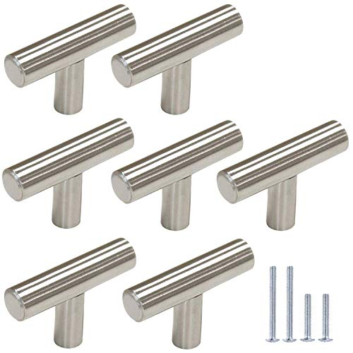 Gobrico 15 Pack Satin Nickel Single Hole T bar Kitchen Cabinet Handles Knobs Stainless Steel Cupboard Drawer Dresser Pulls Overall Length 50mm/2in