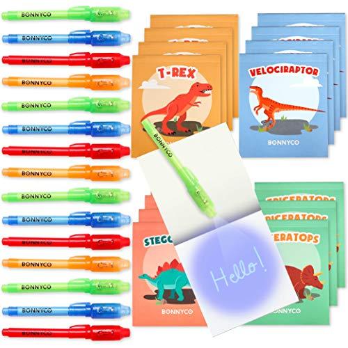 BONNYCO Bolígrafo Tinta Invisible y Libreta Dinosaurios Pack x16 Detalles Cumpleaños Niños, Regalos Cumpleaños Niños Colegio, Piñatas de Cumpleaños | Regalos Fiesta Cumpleaños Infantil