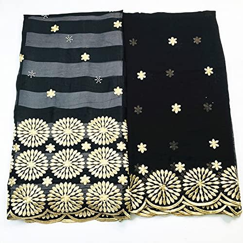 FATEGGS Tela de encaje elástica de 5 + 2 yardas de tela de seda más blusa de gasa bordada de encaje para mujer vestido para ropa (color: marrón)