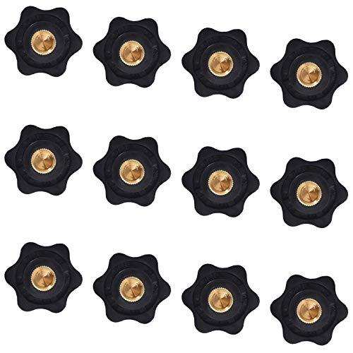 Miystn Tuerca M8, Perillas Negras, Mando de Sujeción Plástico, Rosca Hembra Tornillo de Rosca de Plástico Negro en Tipo Estrella Cabeza Perilla de Sujeción Perilla (12 Piezas, Negro)