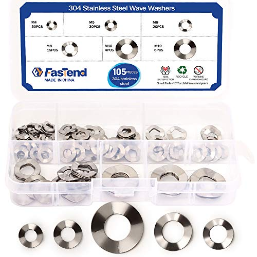 105Pcs 304 Stainless Steel Wave Washers Anti Loosing M4/M5/M6/M8/M10 for Screw Bolt