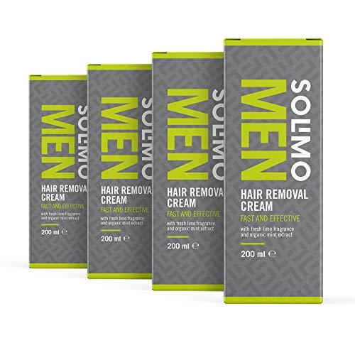 Marque Amazon - Solimo - MEN - Crème dépilatoire, rapide et efficace sur la peau des hommes, au parfum citron vert frais et à l'extrait de menthe bio, 4 x 200 ml