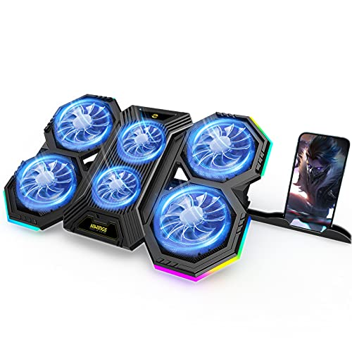 RGB Laptop Cooling Pad, Gaming Laptop Cooling Stand with 6 Quiet Cooling Fans, 6 Height Adjustable and Dual USB Ports for 11-17.3 Inch Laptops (Extra iPad Phone Stand)