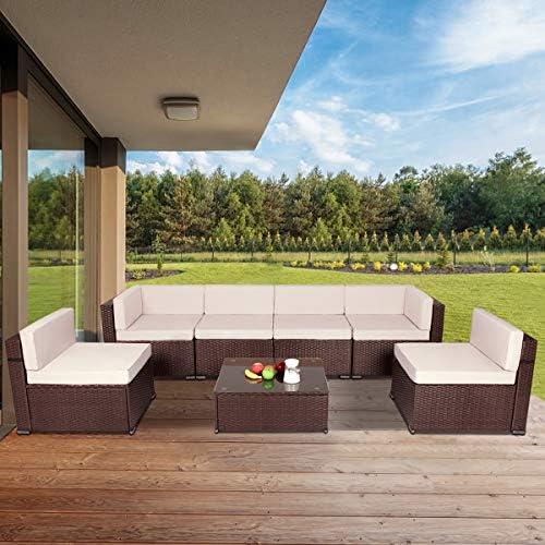 U MAX 7 Piece Outdoor Patio Furniture Set PE Rattan Wicker Sofa Set Outdoor Sectional Furniture product image