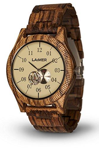 LAiMER orologio automatico in legno GRAND EDITION ERIK – orologio da polso maschile fatto di 100% legno di Zebrano riciclato - natura e innovazione